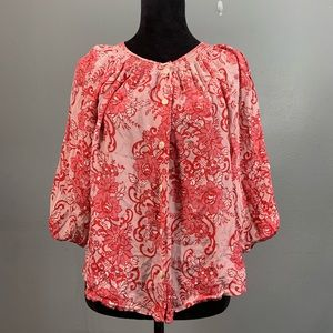 SUNDANCE Catalog Silk Red Floral Top Size Small